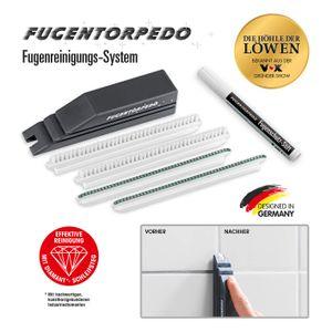 Fugentorpedo 00896 XL-Set   1x Griff, Fugenbürste, 2X Schleifsteg 3mm & 1 x Fugenschutzstift   Effektive Fugenreinigung und-versiegelung   Für Zementfugen in Küche und Bad, Schwarz, One Size