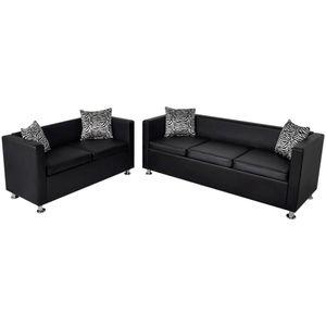 vidaXL Sofa-Set Kunstleder 3-Sitzer und 2-Sitzer Schwarz