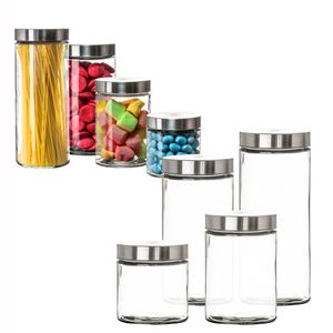 Vorratsgläser 4er Set 2,2 & 1,7 & 1,25 & 0,85 L Glas Schraubglas Lebensmittelglas Edelstahldeckel