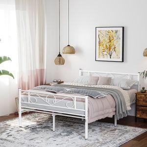 VASAGLE Metallbett Bettgestell Doppelbett mit Lattenrost Klassisches Bett weiß RMB063W01