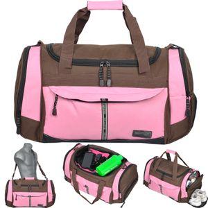 Sporttasche Keanu ADVENTURE ** Viele Fächer z.B. Schuhfach, Seitentaschen, Vordertasche ** 40 Liter Fitness Tasche Sport Sauna Tasche Reisetasche ( Braun Rosa )