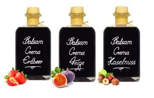 Crema Trio Erdbeer / Feige / Haselnuß 3 x 0,5 L 3% Säure Balsam Essig Creme