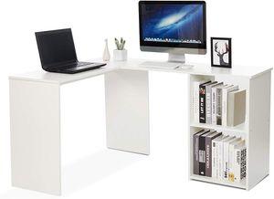 Meerveil Eckschreibtisch, Computertisch L-Förmig Schreibtisch mit 2 Ablagen Großer fürs Arbeitszimmer Wohnzimmer Büro 108×135×73,5 cm, Weiß