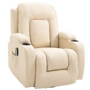 HOMCOM Massagesessel Fernsehsessel Relaxsessel TV Sessel Wärmefunktion Wippenfunktion mit Fernbedienung Liegefunktion Cremeweiß 85 x 94 x 104 cm