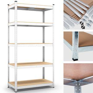 Steckregal Werkstattregal 1800x900x400 mm, 5 Ebenen, weiß, Traglast gesamt 875 kg, Kellerregal Schwerlastregal Metallregal Lagerregal