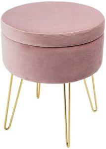 Theo&Cleo Schminktisch Samt Runder Hocker,Sitzhocker mit Stauraum,Fußhocker Aufbewahrungsbox,Abnehmbarer Deckel,Ankleidezimmer Pouf 45 cm hoch (Pink)
