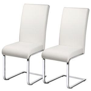 Yaheetech esszimmerstühle 2 er Set freischwinger stühle schwingstuhl küchenstühle Weiß