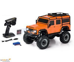 Carson RC 1:8 Land Rover Defender 2.4GHz 100% RTR orange Crawler, Geländewagen