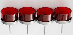 4x Kerzenhalter rot Teelichthalter Teelichtgläser Kerzenhalter zum Stecken Kerzenpicks für Adventskranz 5cm
