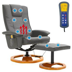 Elektrischer Massagesessel mit Fuhocker Grau Kunstleder 5 Massagefunktionen mit wärmefunktion Fernbedienung