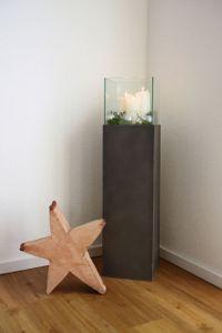 Windlichtsäule Kerzenhalter in Beton Optik CANDELA - Anthrazit - 25x25x100 cm