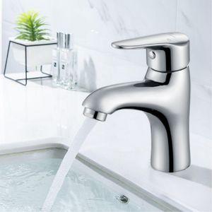 Waschtisch-Einhebelarmatur Warm- und Kaltwasser Armatur mit Verchromter Messingkörper Badarmatur mit Niedrige Auslaufhöhe für Bad