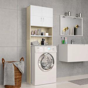 Waschmaschinenschrank Weiß Sonoma-Eiche 64×25,5×190 cm