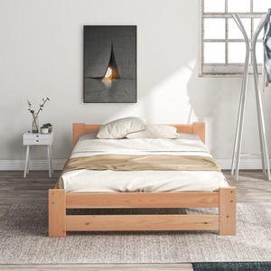 90x200cm Solide Seniorenbett Holzbett  mit Kopfteil und Lattenrost Stabiles Einzelbett für Senioren Gästebett