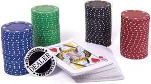 BRUBAKER Poker Set Texas Hold'em Spielkarten Blau mit 80 Chips + Dealer-Chip