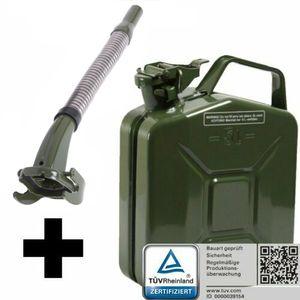 Oxid7® Metall Benzinkanister, pulverbeschichtet, olivgrün 5 Liter + Ausgießer silber/grün