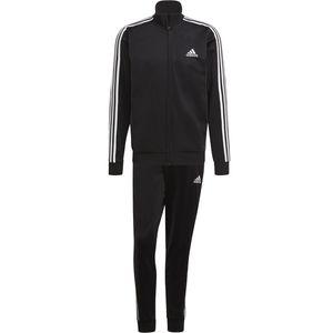 adidas Jogginganzug Herren schwarz im 3 Streifen Design, Größe:8 [L] 54, Farbe:Schwarz