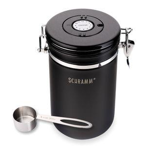 Schramm® Kaffeedose 1800 ml in 10 Farben mit Dosierlöffel Höhe: 19cm Kaffeedosen Kaffeebehälter aus Edelstahl , Farbe:schwarz