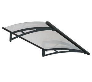 Palram Aluminium Vordach 150x92 cm Aquila 1500 klar grau inkl. Regenrinne Überdachung Unterstand Haustür