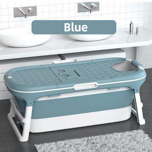 1,45m Badewanne Faltbar Badewanne Sauna Bad Faß mit Decken für Erwachsenen Kinder, Blau