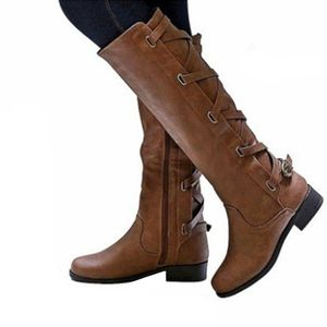 Kunstlederstiefel Stiefel mit hohem Bein Stiefel mit niedrigem Absatz und quadratischem Absatz,Farbe: Braun,Größe:39