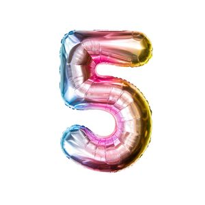 Oblique Unique 1x Folien Luftballon mit Zahl 5 Kinder Geburtstag Jubiläum Party Deko Ballon bunt