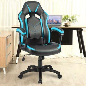Merax Gaming Stuhl Bürostuhl Chefsessel Racing Stuhl Schreibtischstuhl Drehstuhl Computerstuhl, belastbar bis 100 kg, blau