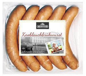Knoblauchwurst | Knoblauchbrühwurst | Bockwurst | Würstchen geräuchert | Wurst im Naturdarm |  5 x 100g