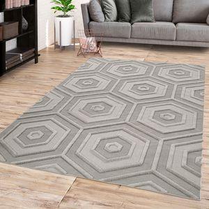 Wohnzimmer Kurzflor Teppich Boho Design Moderne Geometrische Optik In Grau, Größe:160x230 cm