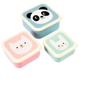 Rex London Snack-Boxen 3er-Set Panda, Cat, Rabbit