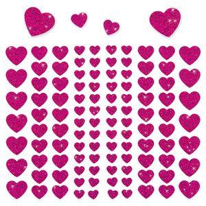 Oblique Unique 106 Herz Sticker Aufkleber Set Glitzer Scrapbooking Basteln - pink