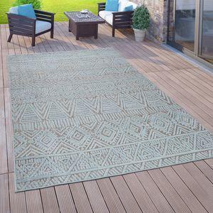 In- & Outdoor-Teppich Für Balkon Terrasse, Flachgewebe, 3-D Ethno-Look, In Türkis, Grösse:160x220 cm