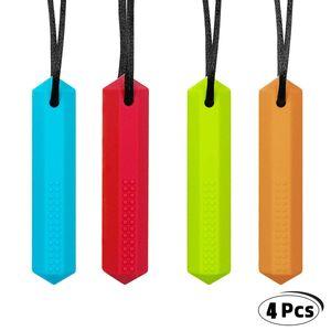 4 Stück Silikon Zahnen Halskette Chew Halskette Autismus Spielzeug Kauen Beißring Halskette für Kinderkrankheiten, Autismus, ADHS, Oral Motor (Blau + Grün + Rot + Orange)