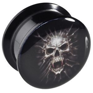 viva-adorno 1 Stück 10mm Flesh Plug Tunnel Acryl Schraubverschluss Totenkopf Größe 6 - 12mm VMS