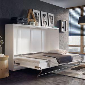 Mirjan24 Schrankbett Concept Pro CP-04 Horizontal, Wandklappbett inkl. Lattenrost, Schrank mit integriertem Klappbett (140x200 cm, Weiß Matt / Weiß Matt)