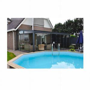 Aluminium Gartenzimmer mit 8 mm starken Glas-Schiebewände und Glasdach Kombinationsmöglichkeiten, Größe 300x250 - 700x400:600 x 250 cm