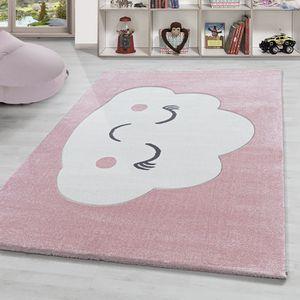 Kinderteppich süße Wolke muster Babyzimmer Kinderzimmer Pastell Rosa Weiss, Farbe:Rose, Grösse:80x150 cm