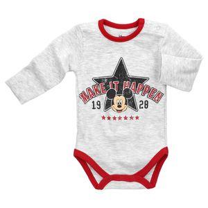 Disney Baby Langarm Body Jungen hellgrau meliert Mickey Mouse 74 (6-9 Monate)