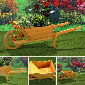 Garten Pflanzschubkarre Schubkarre aus Holz Blumenkarre Pflanztrog Blumenkübel