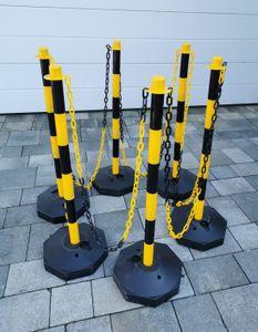 6 Stück Flexible Absperrpfosten Gelb mit 30 Meter Absperrkette