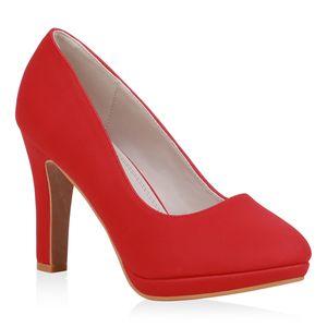 Mytrendshoe Damen Pumps High Heels Klassisch Absatzschuhe Stiletto Abendschuhe 834226, Farbe: Rot, Größe: 38