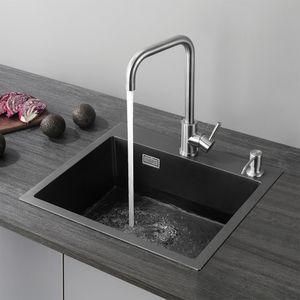 Cecipa Einbauspüle aus Edelstahl 50x45cm Küchenspüle Anthrazitgrau Spülbecken Spülen mit Ablaufgarnitur