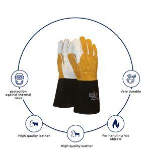 Soft Touch  Schweißhandschuh Arbeitshandschuhe Schweißen und Hitzeschutz Braun - Klassische flexible Handschuhe zum Schweißen - 8 / M - 1 Paar