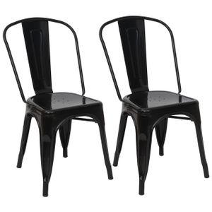 2x Stuhl HWC-A73, Bistrostuhl Stapelstuhl, Metall Industriedesign stapelbar  schwarz