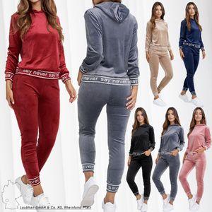 Damen Soft Nicki Sportanzug Velours Trainingsanzug Cozy Hoodie Set Hose Stretch Bund Design Print, Farben:Rosa, Größe:L-XL