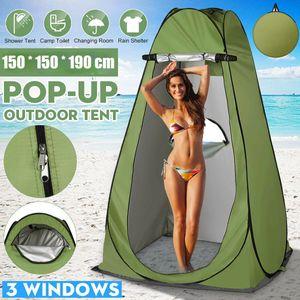 Pop Up Drei-Fenster Duschzelt Toilettenzelt Umkleidezelt Camping Zelt Beistellzelt 150cmx150cmx190cm Wasserdicht