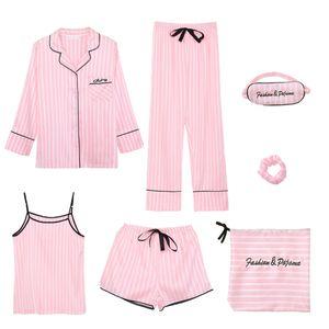 7 Stück Damen Pyjamas Set Gedruckt Nachtwäsche Anzüge Loungewear Gestreiften M Mehrfarbig Blumen Gestreifte M. Vollständiger Satz Pyjama Set