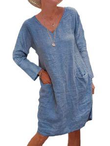 Damen Baumwolle Leinen V-Ausschnitt Langarm Mittellanges Kleid T-Shirt,Farbe: Blau,Größe:L