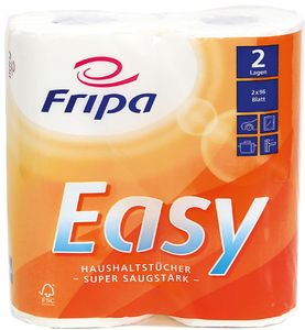 Fripa Küchenrolle Easy 2-lagig hochweiß Tissue 2 Rollen à 96 Blatt
