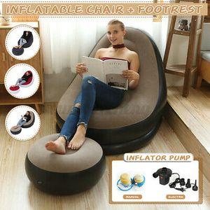 2 Stk PVC Aufblasbarer Sitzsack Set Sitzsäcke Sitzkissen Sessel 116*96*83cm Mit Fußstütze 61*31cm + Inflatorpumpe